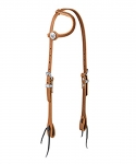 Weaver Leather Golden Brown Harness Leather Flat Sliding Ear Headstall, Flames