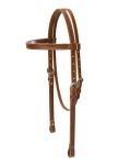 Weaver Leather Hand Tooled Browband Headstall with Wagon Wheel Border