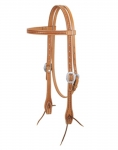Weaver Leather Hand Tooled Browband Headstall with Heart Border