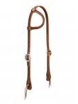 Weaver Leather Hand Tooled Flat Sliding Ear Headstall with Heart Border