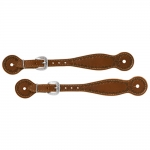 Weaver Leather Hand Tooled Spur Straps, Thin, Wagon Wheel Border
