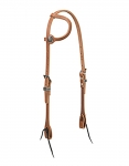 "Weaver Leather Harness Leather Flat Sliding Ear Headstall, 5/8"", Polka Dot"