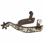 Weaver Leather Men's Spurs with Engraved German Silver Trim and Replaceable Rowels with Cotter Pins