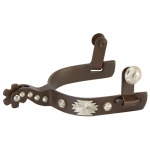 Weaver Leather Men's Spurs with Hand-Engraved Silver Buttons and Replaceable Rowels with Cotter Pins