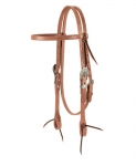 Weaver Leather Russet Harness Leather Browband Headstall, Cross