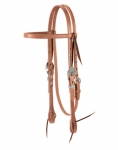 Weaver Leather Russet Harness Leather Browband Headstall, Triangle