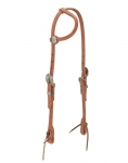 Weaver Leather Russet Harness Leather Flat Sliding Ear Headstall, Cross
