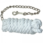White Cotton Lead Rope w/nickel Plate Chain