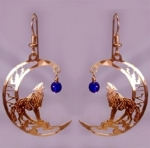 Wild Bryde Baying Wolf with Lapis Beads Earrings