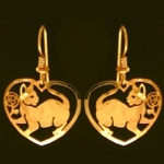 Wild Bryde Heart Shaped Cat Earrings