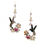 Wild Bryde Humming Bird with Garnet Beads Earrings